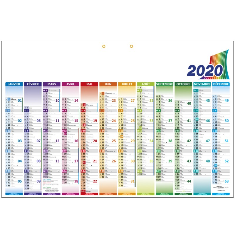Calendrier Course A Pied 2020.Grand Calendrier Publicitaire 2020 Horizontal A Suspendre
